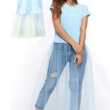 Комплект фемели лук мама дочка трикотажных футболок с фатином