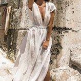 Пляжная туника платье в пол лен с поясом