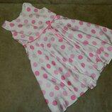 Платье детское Белое в розовый горох на девочку 3-4 год. Next.