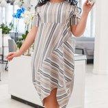 Платье повседневное XL лён принт полоска серый бежевый розовый