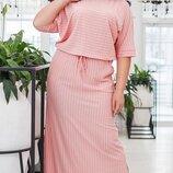 Платье XL итальянская плотная вискоза принт полоска хаки розовый