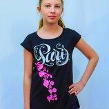 Красивая удлиненная футболка для подростков и женщин