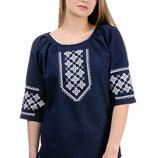 Женская вышитая сорочка лен, вышиванка, блуза с вышивкой, р. 42-52 наложка