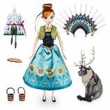 Disney Принцесса Анна поющая Холодное сердце frozen fever Anna deluxe singing doll