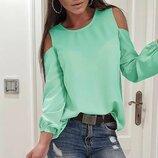 Блузка с открытыми плечами из креп-шифона renata. 6- цветов. Новинка.размеры 42-52