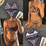 Женский раздельный купальник бразильское бикини леопардовый