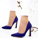 Туфли - лодочки, натуральная замша, фиолетовые