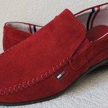 Style Tommy Hilfiger Мужские красные замшевые мокасины