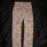 8-9 лет, плотные котоновые скинни штаны, стрейчевые от H&M