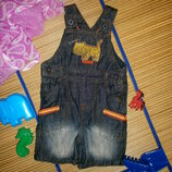 Комбинезон джинсовый ромпер песочник для мальчика 6-9мес.