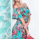 Платье повседневное лето штапель принт цветы бежевый бирюза