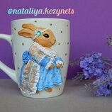 Чашка с декором полимерной глиной Барышня Кролик .кружка с декором.Чашка с кроликом.