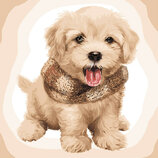 Картина По Номерам. ПУШИСТЫЙ Щенок 40 40СМ KHO4116. Песик. Собака.