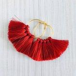 Красные серьги кисточки, красные серьги веер, серьги кольца с красными кисточками