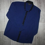 Нарядная стильная рубашка синяя некст Next 11 лет, рост 146 см.