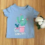 Фирменная футболка m&s малышке 3-4 года cостояние отличное