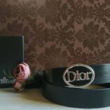 Ремень кожаный в стиле Dior, Диор унисекс с бляшкой серебристого глянцевого цвета