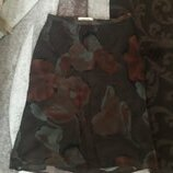 крутая брендовая юбка шелк цветы тауп Caractere