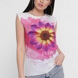 Отличная летняя женская футболка с принтом ткань креп-шифон вискоза скл.8арт. Classic FB-1760A