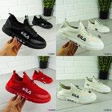 Женские кроссовки-слипоны без шнурков в стиле Fila, белые, черные, красные