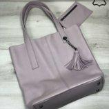 Кожаная женская сумка-шоппер Jolie фиалкового цвета