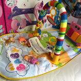 Детский развивающий коврик для младенца HE0612 Веселый Бегемотик с пианино, розовый