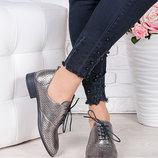 Туфли кожаные сатин с перфорацией лето Эвелин