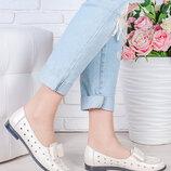 Летние туфли натуральная кожа с бантом кремового цвета