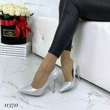 Лодочки Came цвет серебро каблук 10,5 см обувной сатин 35-40 маломерят