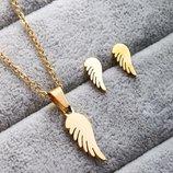 Набор украшений серьги цепочка с подвеской из нержавеющей стали под золото