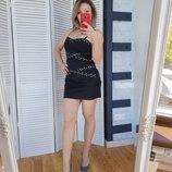 Корсажное платье с металлическими заклепками
