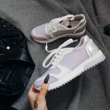 Кожаные кроссовки светло-сиреневого цвета из натуральной кожи