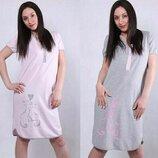 Туника, Ночная рубашка сорочка в роддом, Ночнушка для беременных и кормящих Хлопок 44-46-48-50-52-54