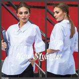44-52. Блузка свободного кроя. с воланами. Женская блузка. Жіноча блузка.