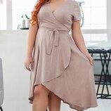 Женское летнее платье на запах ткань натуральный лен большие размеры скл.1 арт.53388