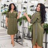 Шикарное турецкое платье-рубашка ткань супер софт с лампасами Турция все размеры скл.1 арт.53385