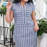 Летнее женское платье из натуральной ткани лен с принтом все размеры с 42 до 56 скл.1арт.53383