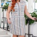 Летнее женское платье из натуральной ткани лен с принтом все размеры с 42 до 56 скл.1арт.53382