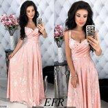 Шикарное длинное вечернее платье ткань летняя костюмка с принтом скл.1 арт.53358