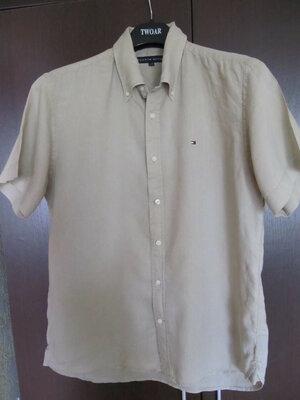 Льняная тенниска рубашка футболка tommy hilfiger