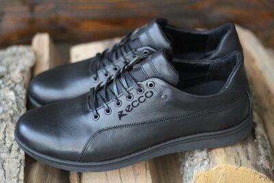 Кроссовки Ecco экко мужские кожаные черные 40, 41, 42, 43, 44, 45