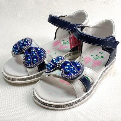 Детские босоножки сандалии для девочек синий бантик Y.Top 27р-30р 4121