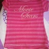 Розовая футболка в полоску 2-3 года
