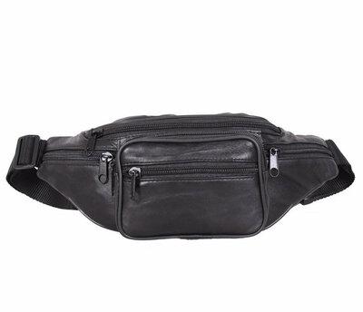 Поясная кожаная сумка черная