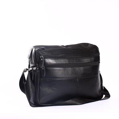 Компактный мужской кожаный портфель для документов, черный