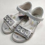 Детские босоножки сандалии для девочек серебристые ромашка y.top 26р-31р 4123