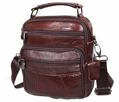 Удобная мужская кожаная сумка, коричневая