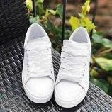 Стильные белые натуральные кожаные кеды 32,33,34,35,36,37,38,39,40,41