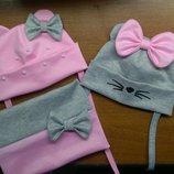 Шапка с ушками на завязках для девочки 0..6лет