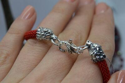 Серебряный браслет, Волки, красная нить, оберіг, на руку, унисекс, 925, все размеры
